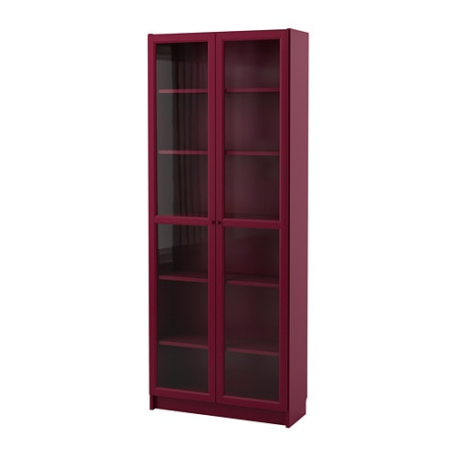 billy bookcase with glass doors dark red ikea. Black Bedroom Furniture Sets. Home Design Ideas