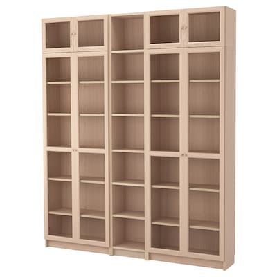 BILLY / OXBERG Bookcase combination/glass doors, white stained oak veneer/glass, 200x30x237 cm