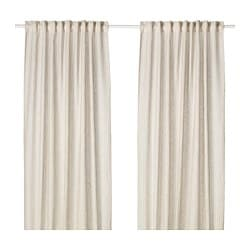 BIRTINE curtains, 1 pair, beige
