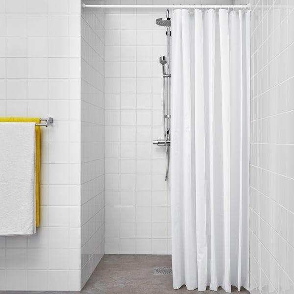 BJÄRSEN Shower curtain, white, 180x200 cm