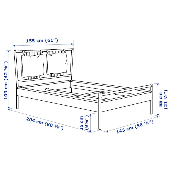 BJÖRKSNÄS Bed frame, birch/Luröy, Full/Double