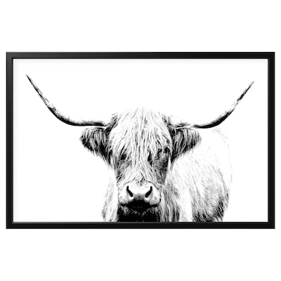 BJÖRKSTA Picture with frame, cow with horns/black, 118x78 cm