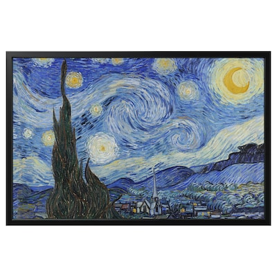 BJÖRKSTA Picture with frame, Starry Night/black, 118x78 cm