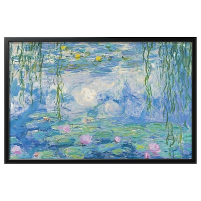 BJÖRKSTA Picture with frame, Water Lilies II/black, 118x78 cm