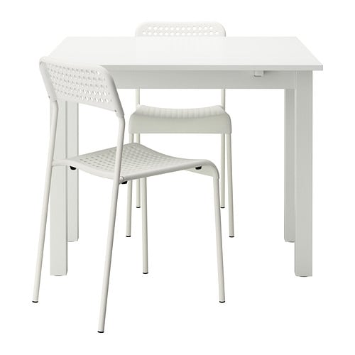 BJURSTA / ADDE Table and 2 chairs IKEA Dining table with 2 pull-out leaves seats 1-2; makes it possible to adjust the table size according to need.