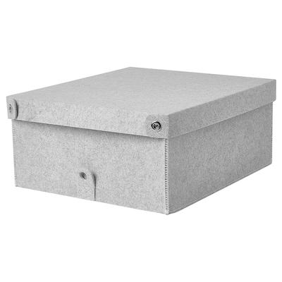 BLÄDDRA Box with lid, light grey, 33x38x16 cm