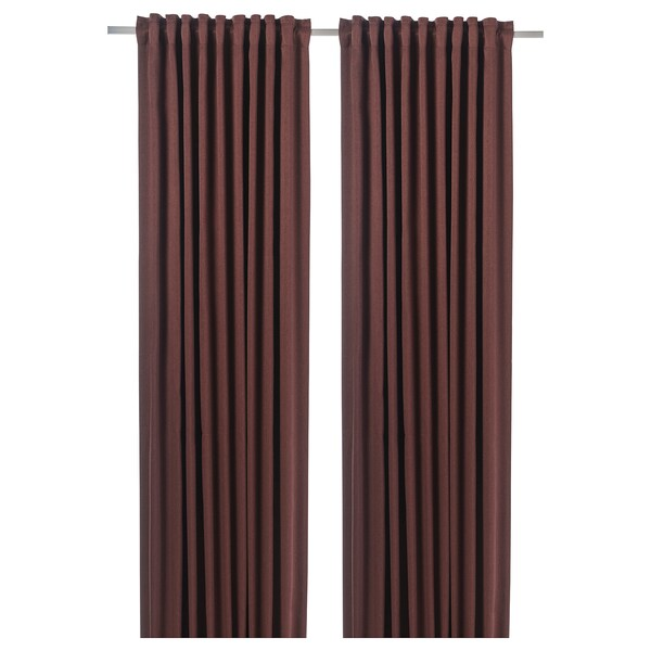 BLÅHUVA Block-out curtains, 1 pair, brown-red, 145x250 cm