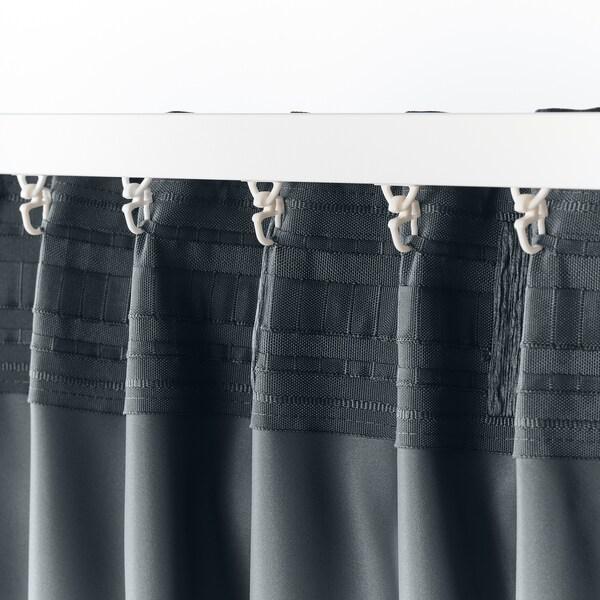 BLÅHUVA Block-out curtains, 1 pair, dark grey, 145x250 cm