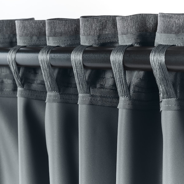 BLÅHUVA block-out curtains, 1 pair dark grey 250 cm 145 cm 2.69 kg 3.63 m² 2 pack