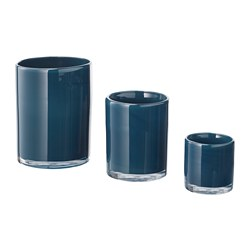 BLÄNDANDE candle holder, set of 3, blue
