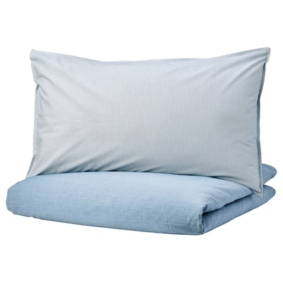 BLÅVINDA Duvet cover and 2 pillowcases, light blue, 200x200/50x80 cm