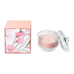 BLOMDOFT scented candle in glass, Sweet pea, light orange