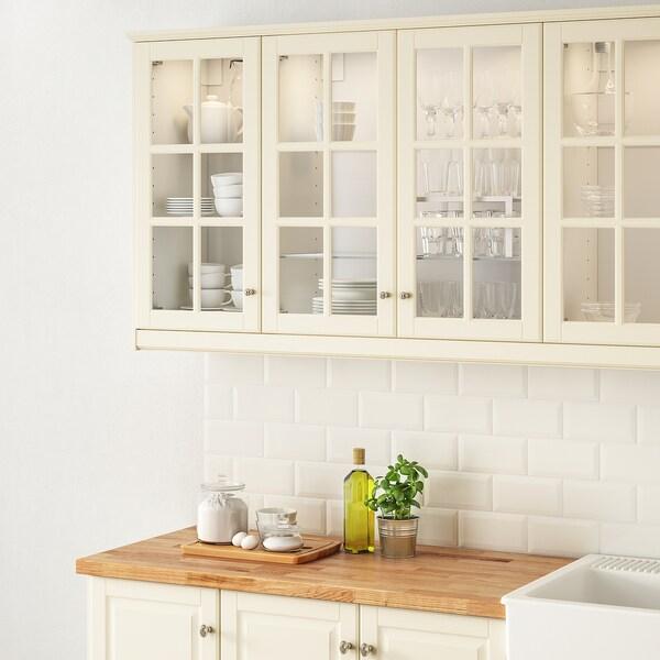 BODBYN Glass door, off-white, 40x100 cm