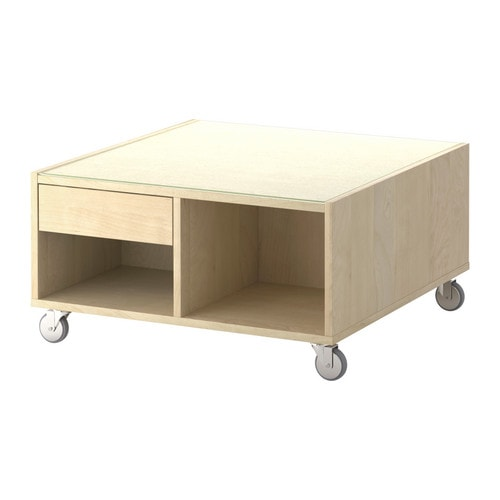 BOKSEL Coffee table IKEA Veneered surface; gives the table a natural look and feel.  Top in tempered glass; protects surface from stains.