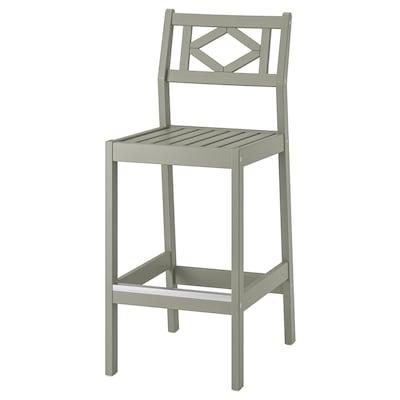 BONDHOLMEN Bar stool with backrest, outdoor, grey
