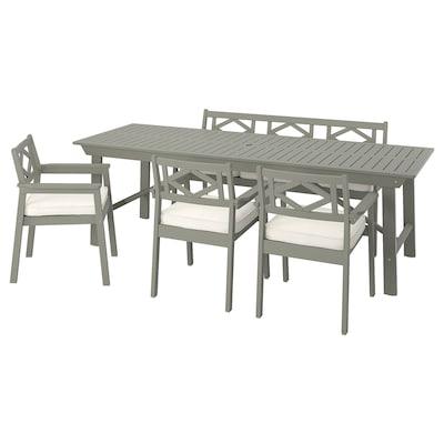 BONDHOLMEN Table+3 chrs w armr+ bench, outdoor, grey stained/Järpön/Duvholmen white
