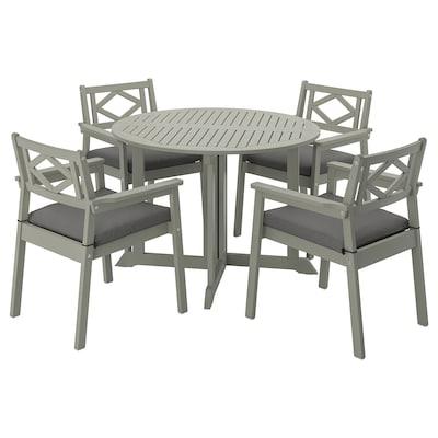 BONDHOLMEN Table+4 chairs w armrests, outdoor, grey stained/Frösön/Duvholmen dark grey