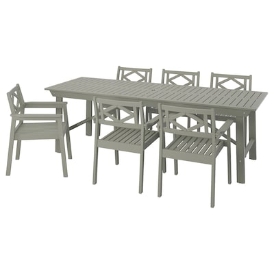 BONDHOLMEN Table+6 chairs, outdoor, grey stained