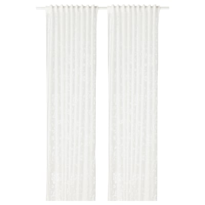BORGHILD Sheer curtains, 1 pair, white, 145x250 cm