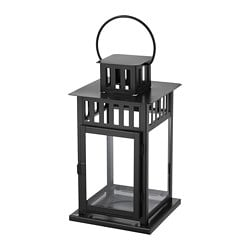 BORRBY lantern for block candle, black in/outdoor black