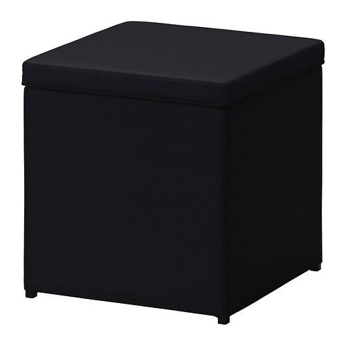 Bosn s footstool with storage ransta black ikea - Ikea pouf contenitore ...