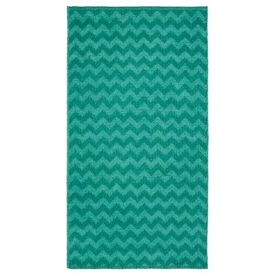 BREDEVAD Rug, flatwoven, zigzag pattern green, 75x150 cm