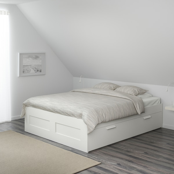 BRIMNES Bed frame with storage, white, Double