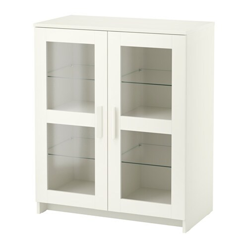 BRIMNES Cabinet with doors - glass/white - IKEA