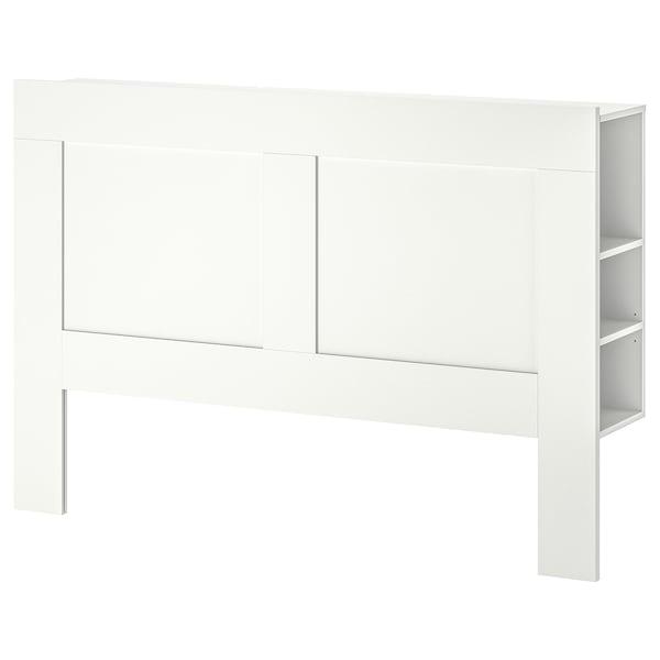BRIMNES Headboard with storage compartment, white, Queen