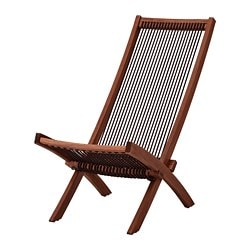 BROMMÖ lounger, outdoor, black brown stained, brown