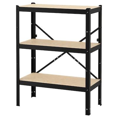 BROR 1 section/shelves, black/wood, 85x40x110 cm