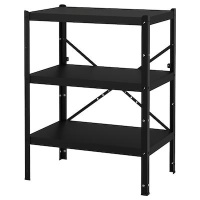 BROR 1 section/shelves, black, 85x55x110 cm