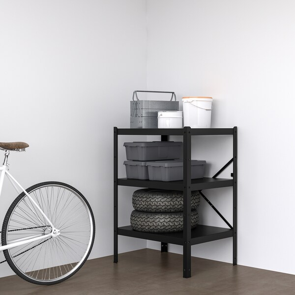 BROR 1 section/shelves black 85 cm 55 cm 110 cm