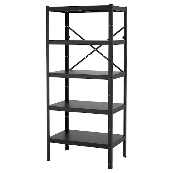 BROR Shelving unit, black, 85x55x190 cm