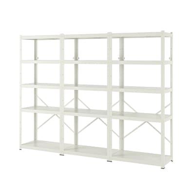 BROR Shelving unit, white, 254x40x190 cm