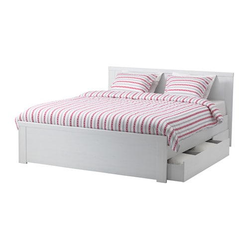 brusali bed frame with 2 storage boxes - double, - - ikea, Hause deko