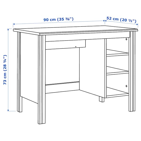 BRUSALI Desk, white, 90x52 cm