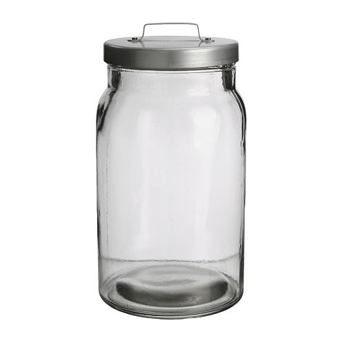 BURKEN Jar with lid, clear glass, aluminium Diameter: 13 cm Height: 24 cm Volume: 2.2 l