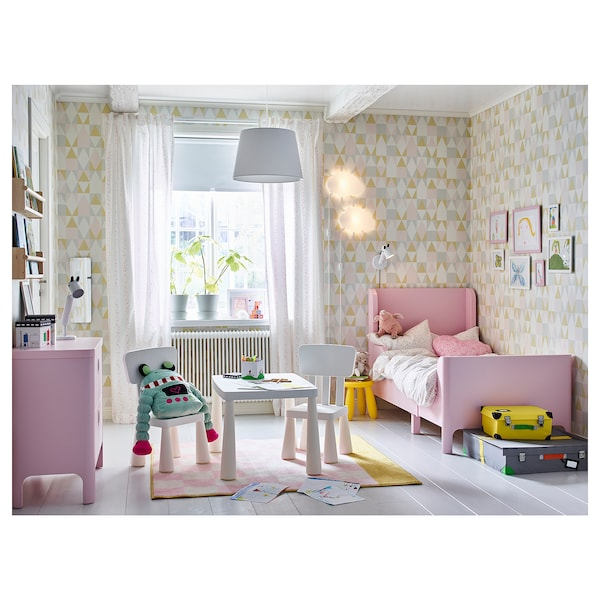 BUSUNGE Extendable bed, light pink, 91x190 cm