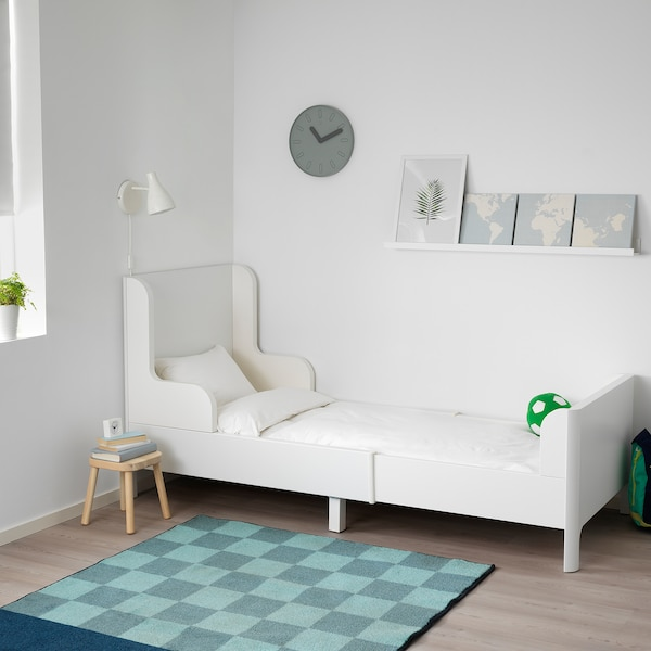 BUSUNGE Extendable bed, white, 91x190 cm