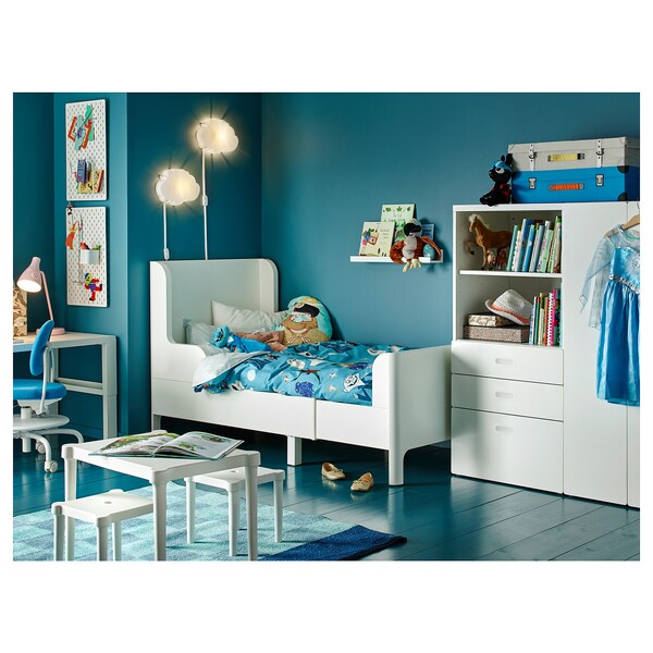 BUSUNGE extendable bed white 129 cm 199 cm 102 cm 100 cm 100 kg 190 cm 91 cm