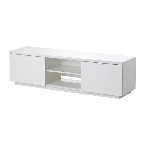 BYÅS TV bench IKEA The open compartment has an adjustable shelf for a DVD player or game console.