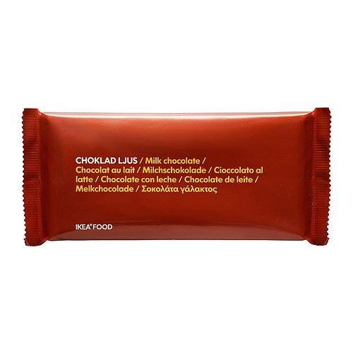 CHOKLAD LJUS Milk chocolate bar IKEA Delicately smooth, rich and creamy milk chocolate with 30% cocoa content.