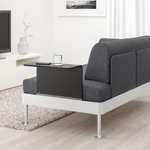 DELAKTIG 2-seat sofa with side table, Gunnared medium grey ...