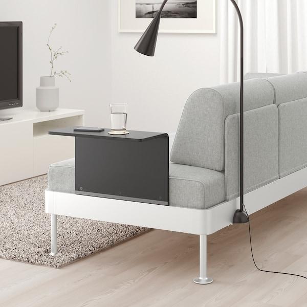 DELAKTIG 3-seat sofa w side table and lamp, Tallmyra white ...