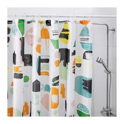 DOFTKLINT Shower curtain IKEA Densely-woven polyester fabric with water-repellent coating.