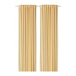 DORTHEA curtains, 1 pair, white/yellow