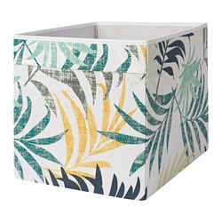 DRÖNA box, multicolour leaf patterned