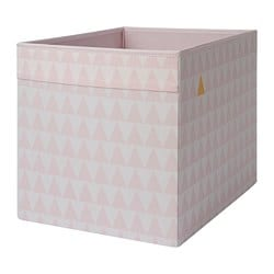 DRÖNA box, white, pink patterned