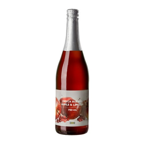 DRYCK BUBBEL ÄPPLE & LINGON Sparkling apple & lingonberry drink IKEA A refreshing fruity and non-alcoholic drink.   Serve at festive occasions.